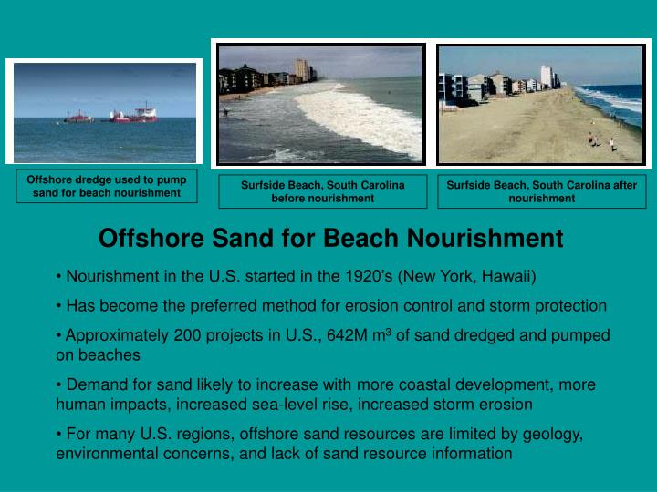 Offshore dredge used to pump sand for beach nourishment