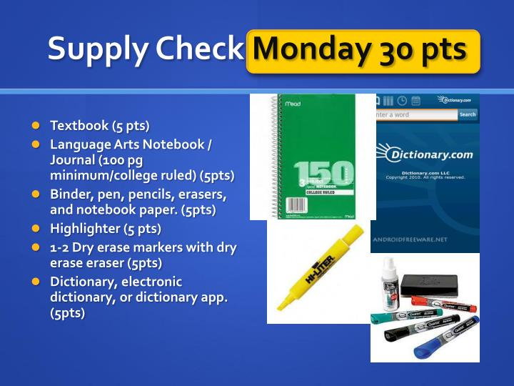 Supply Check