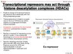 transcriptional repressors may act through histone deacetylation complexes hdacs