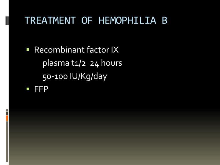 TREATMENT OF HEMOPHILIA B