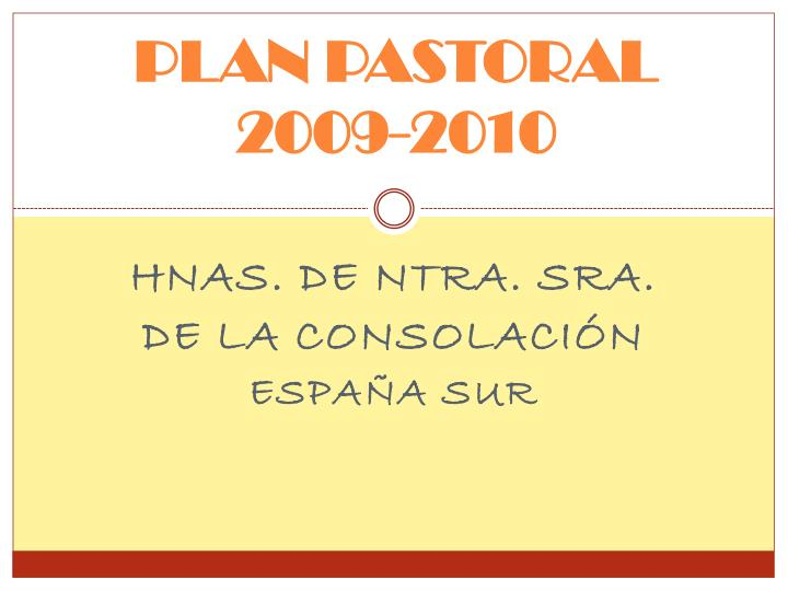 Plan pastoral 2009 2010