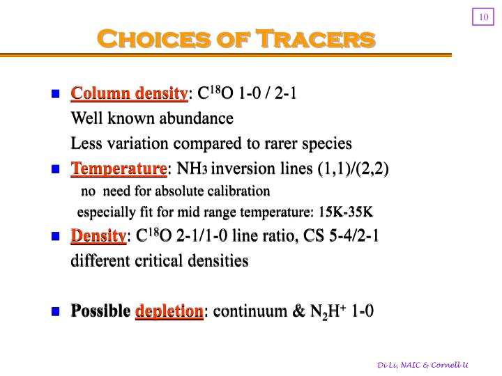 Choices of Tracers