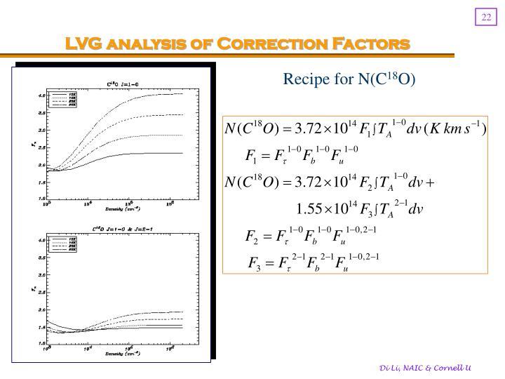 LVG analysis of Correction Factors