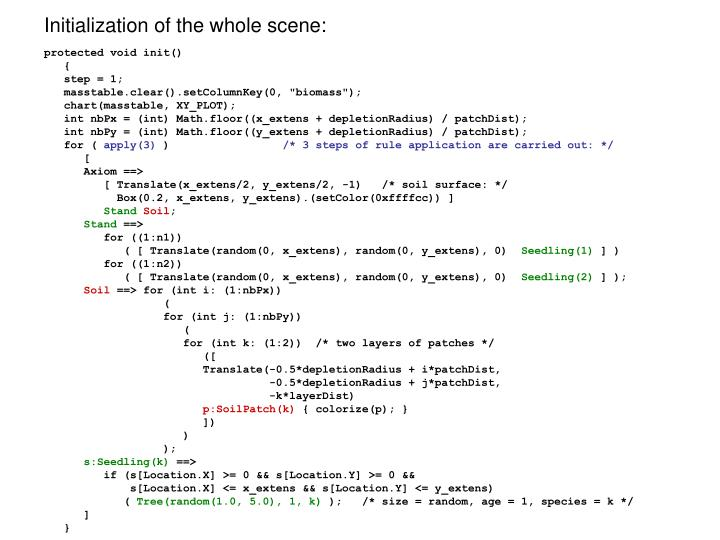 Initialization of the whole scene: