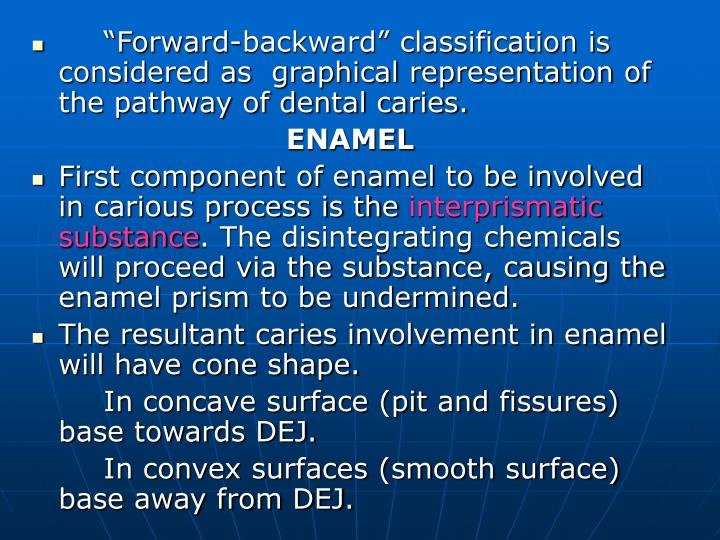 """Forward-backward"" classification is considered as  graphical representation of the pathway of dental caries."