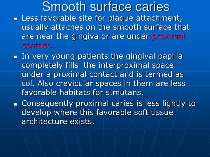 Smooth surface caries