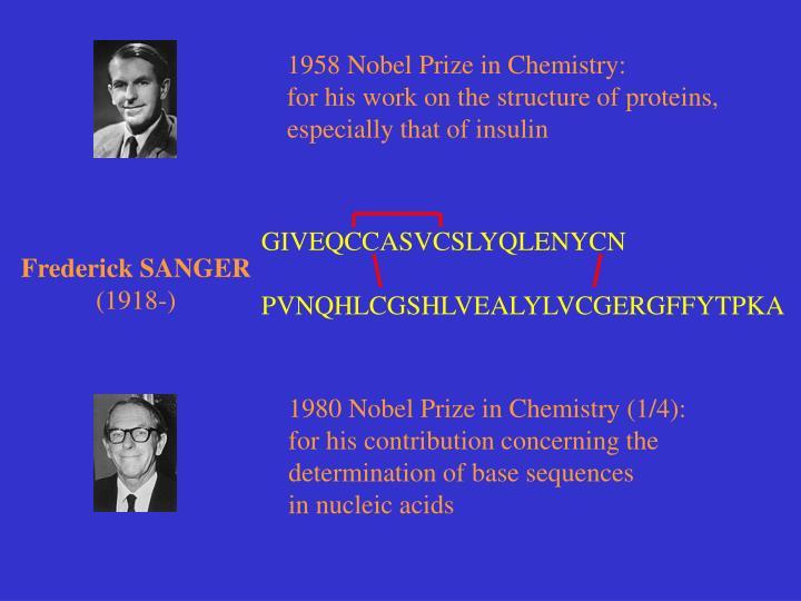 1958 Nobel Prize in Chemistry: