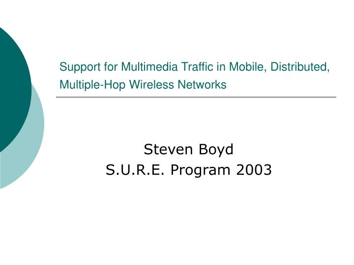 Support for multimedia traffic in mobile distributed multiple hop wireless networks