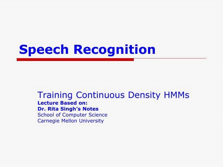 speech recognition n.