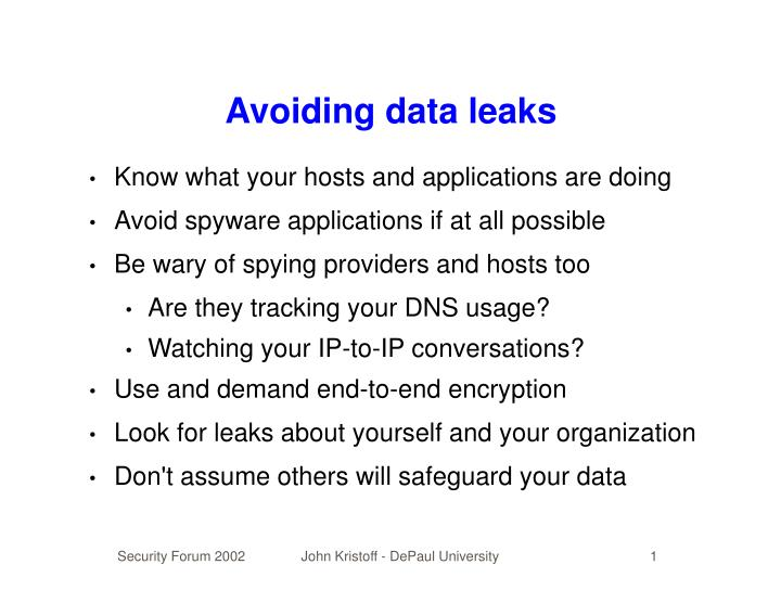 Avoiding data leaks