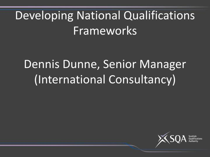 Developing National Qualifications Frameworks