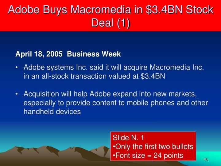 Adobe Buys Macromedia in $3.4BN Stock Deal (1)