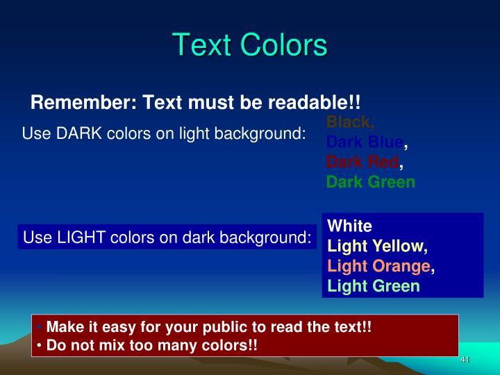 Text Colors