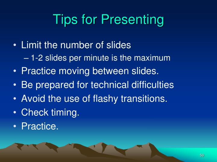 Tips for Presenting