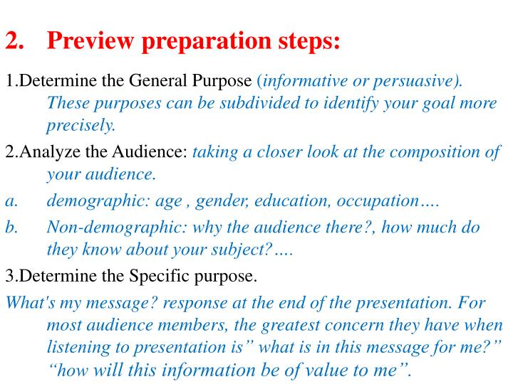 Preview preparation steps: