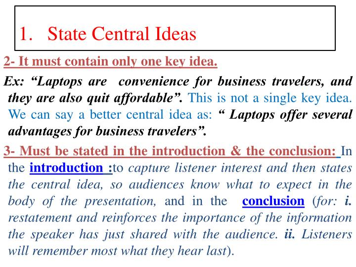 2- It must contain only one key idea.