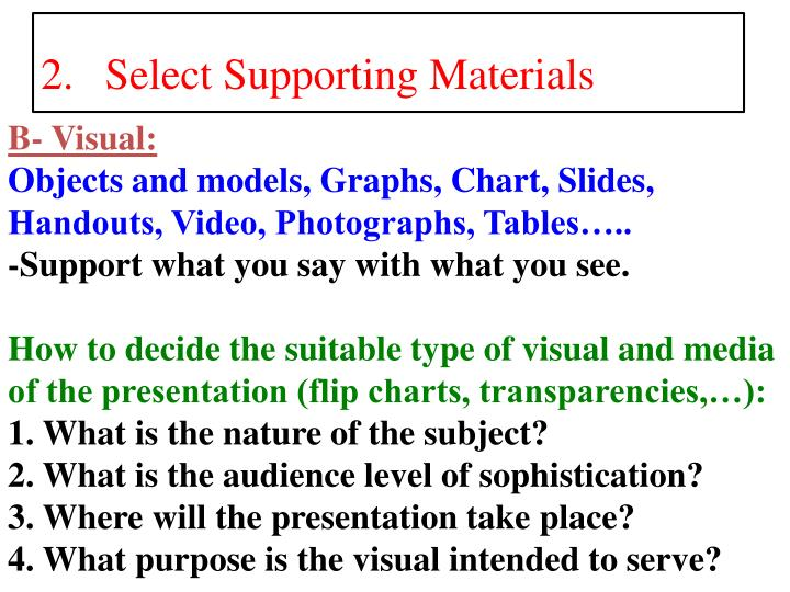 Select Supporting Materials