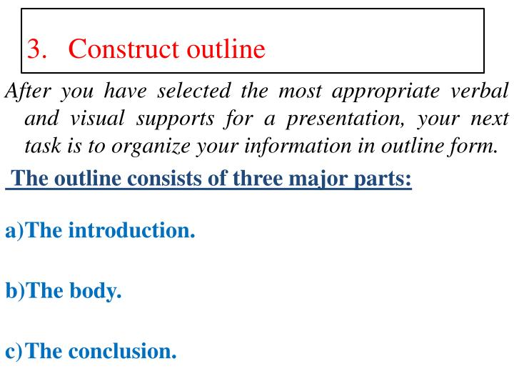 After you have selected the most appropriate verbal and visual supports for a presentation, your next task is to organize your information in outline form.