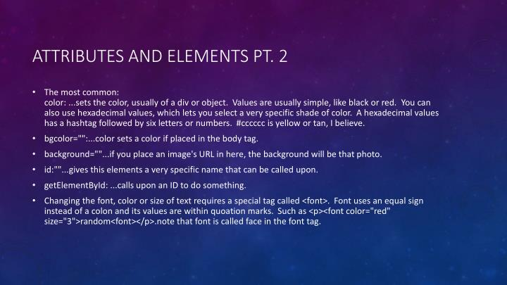 Attributes and elements pt. 2