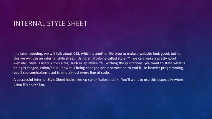 Internal Style Sheet