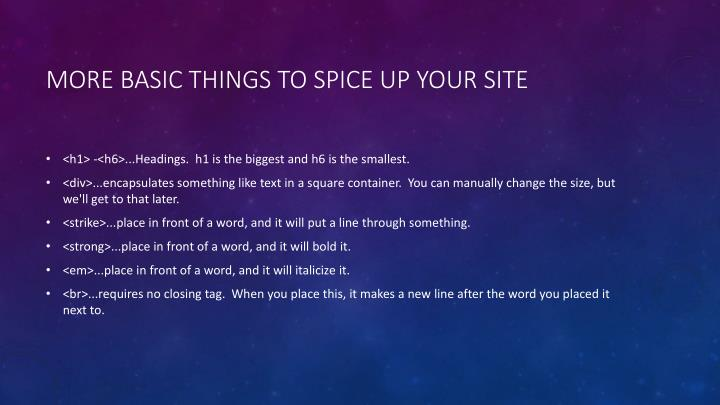 More basic things to spice up your site