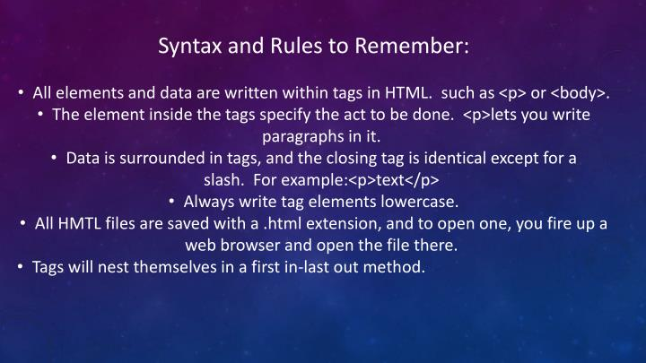 Syntax and Rules to Remember: