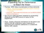 expanding pay for performance to match the vision