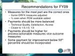 recommendations for fy09