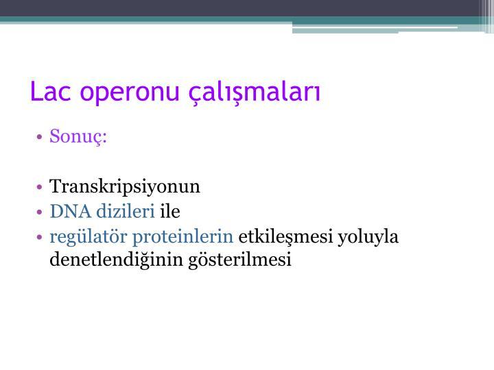 Lac operonu çalışmaları