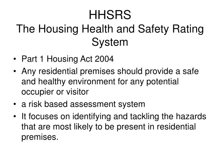 hhsrs the housing health and safety rating system n.