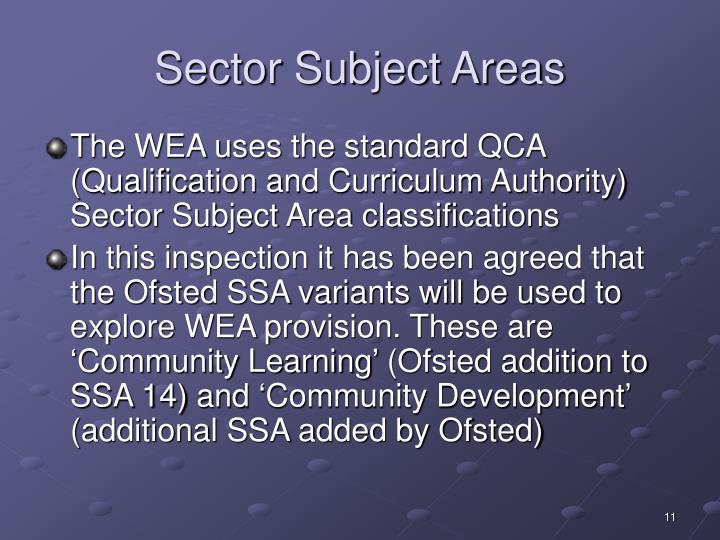 Sector Subject Areas