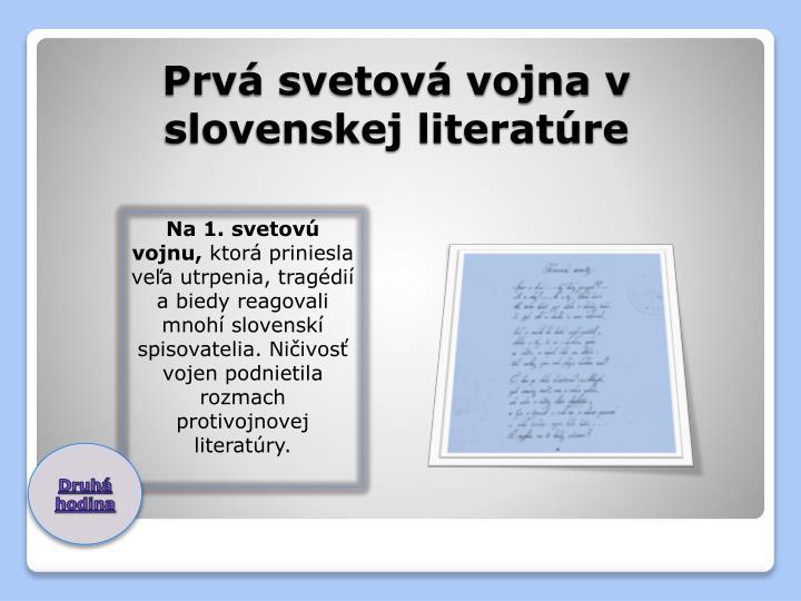 Prv svetov vojna v slovenskej literat re