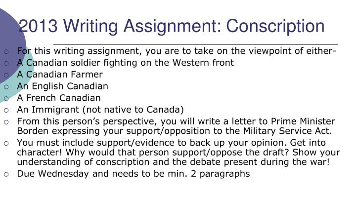 canadian conscription essay Canadian history essay topic i am doing my cpt (a big - introduction of conscription - formation of the league of indians - creation of the canadian flag - flq crisis - gouzenko affair - expo 1967.