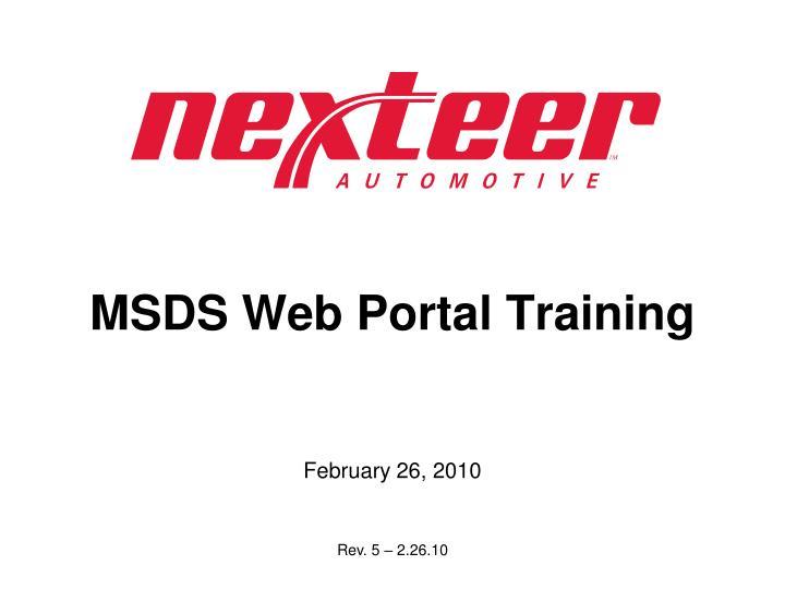 Msds web portal training