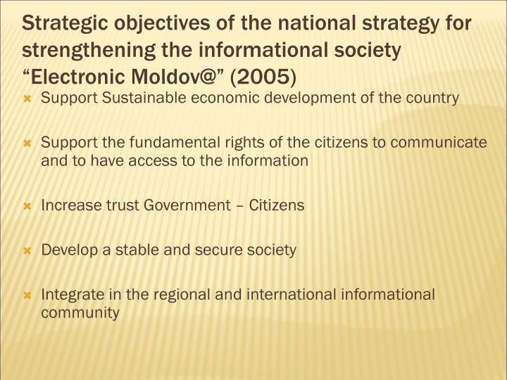 """Strategic objectives of the national strategy for strengthening the informational society """"Electro..."""