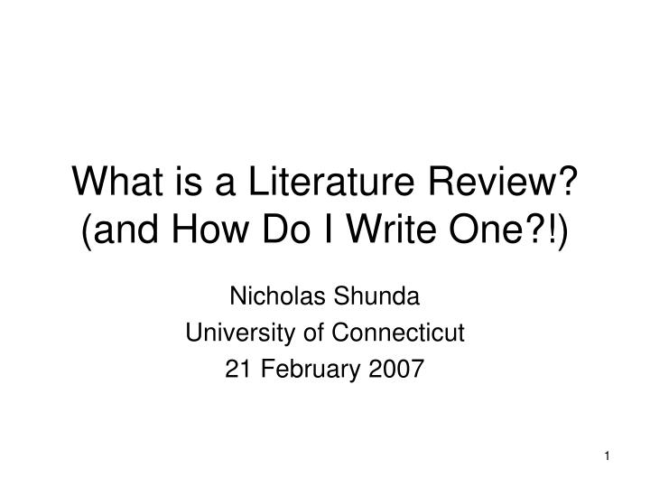 what is a literature review and how do i write one n.