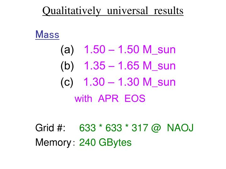 Qualitatively  universal  results
