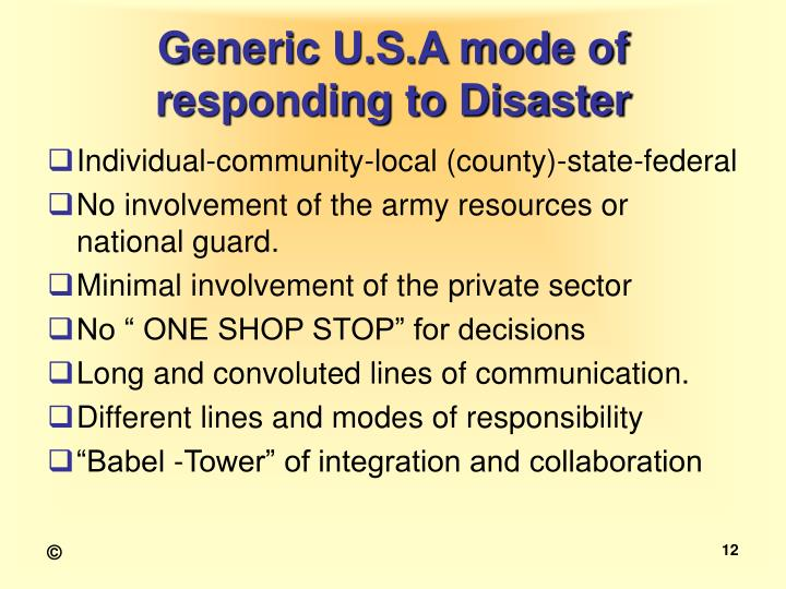 Generic U.S.A mode of responding to Disaster