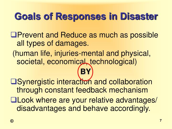 Goals of Responses in Disaster
