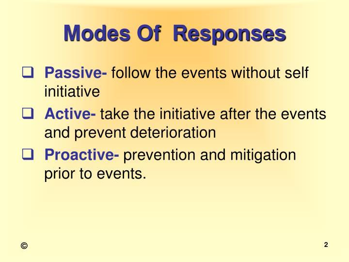 Modes of responses