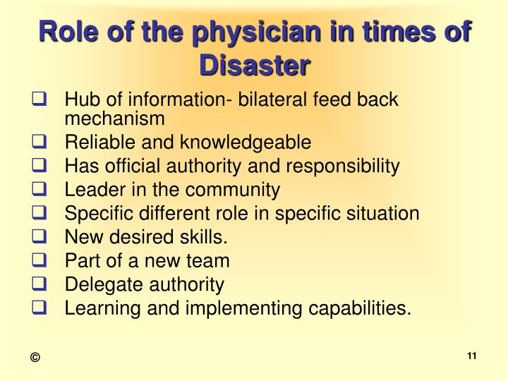 Role of the physician in times of Disaster