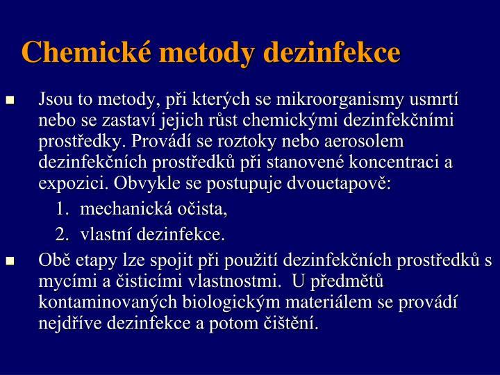 Chemické metody dezinfekce