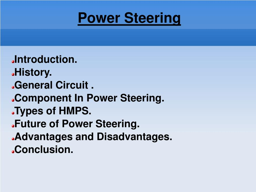 PPT - Power Steering System In Automobiles Presented by Vishal V