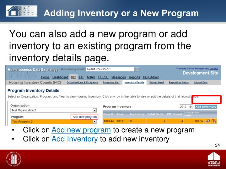 Adding Inventory or a New Program