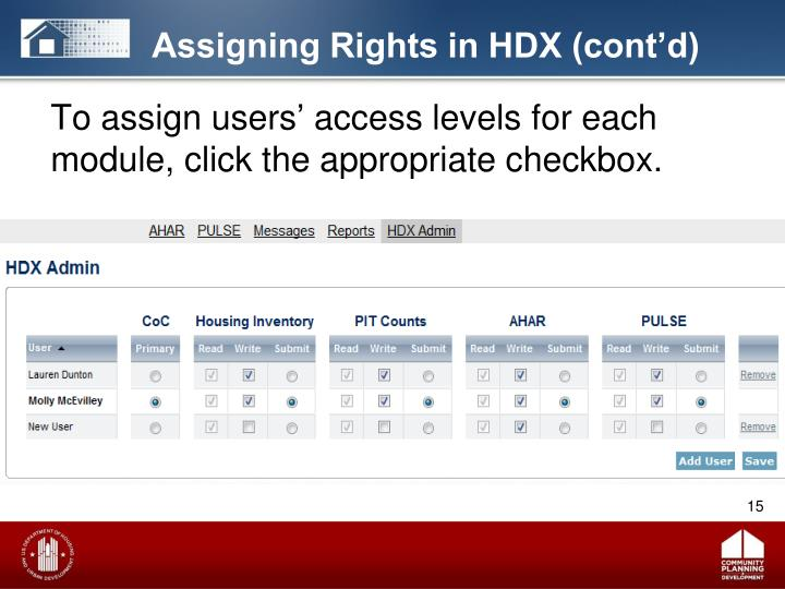 Assigning Rights in HDX (cont'd)