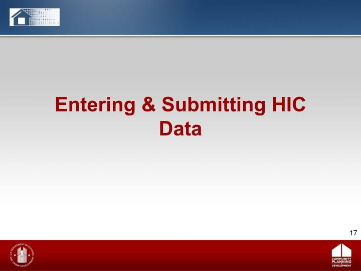 Entering & Submitting HIC Data