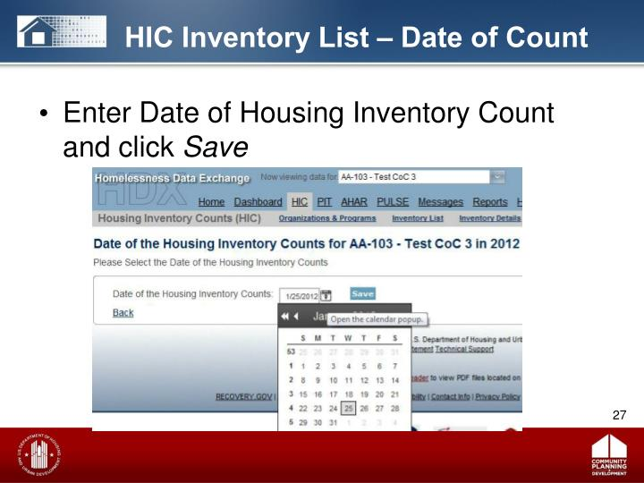 HIC Inventory List – Date of Count