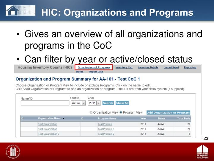 HIC: Organizations and Programs