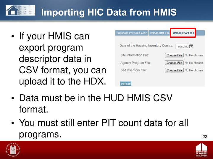 Importing HIC Data from HMIS