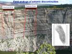field analogs of seismic discontinuities